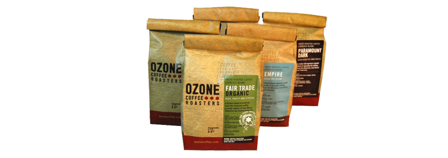 Ozone Coffee Roasters product labels NZ
