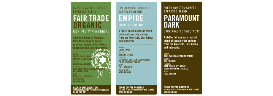 Base labels printed Ozone Coffee Roasters